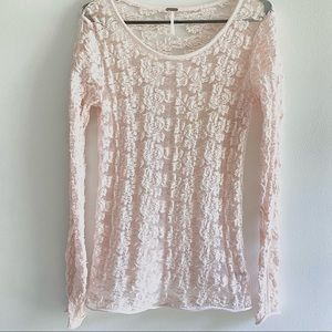 FREE PEOPLE pink sheer floral lace long sleeve lg
